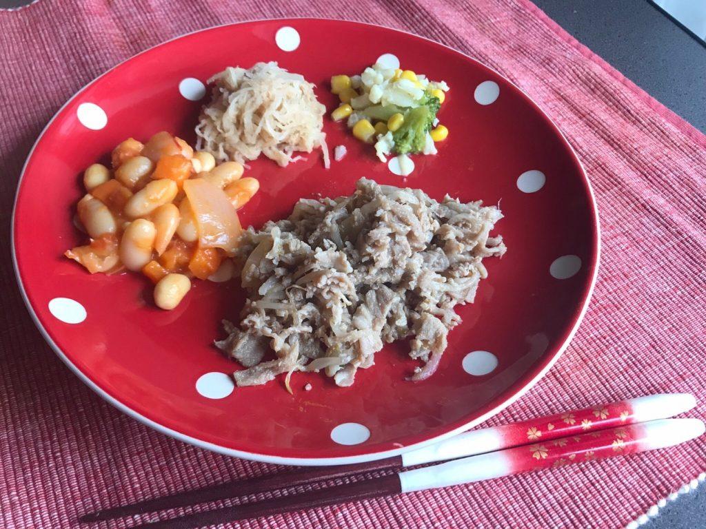 豚の生姜焼き弁当調理済みプレート盛