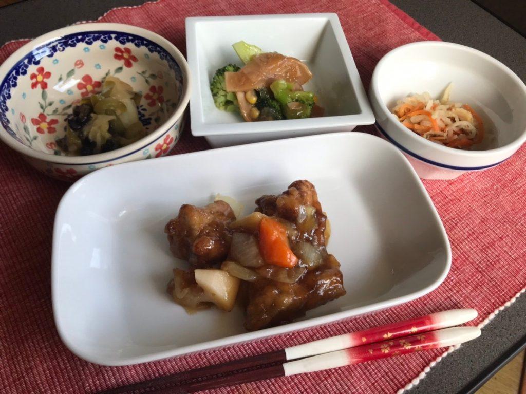 鶏唐揚げと野菜の黒酢あんかけ皿盛り