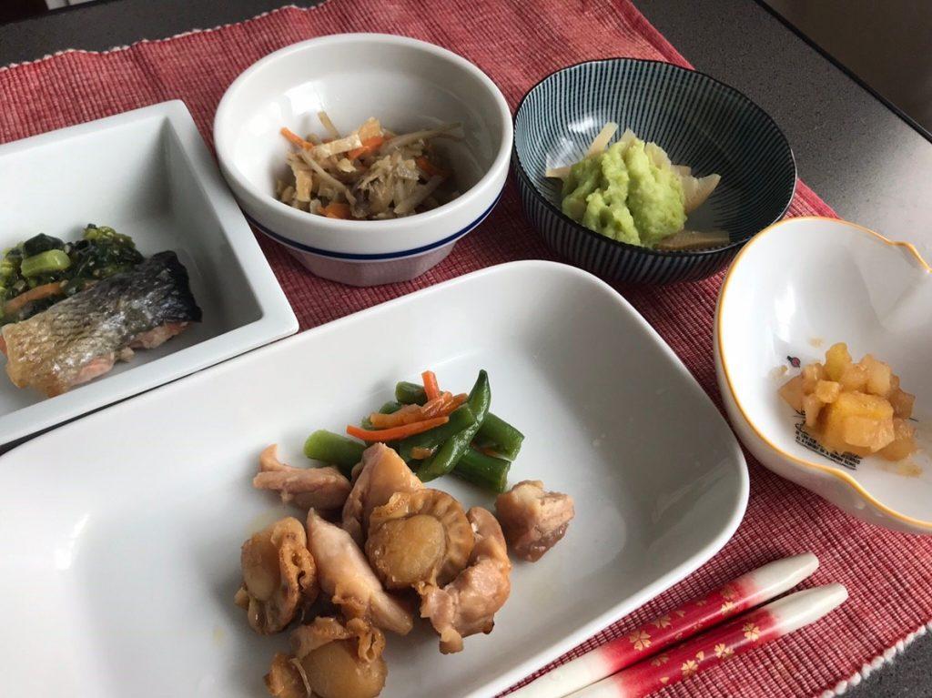 鶏と帆立皿盛
